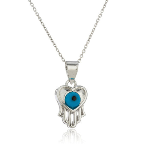 Silver Evil Eye, Heart and Hamsa Hand Pendant