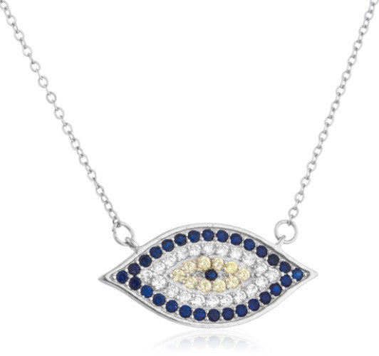 Real 925 Sterling Silver Evil Eye With Cubic Zirconia Stones Pendant And 18 Inch Necklace