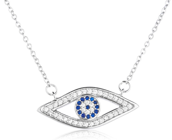 Real 925 Sterling Silver Eye Pendant With Cz Stones Adjustable 16 Inch Link Necklace