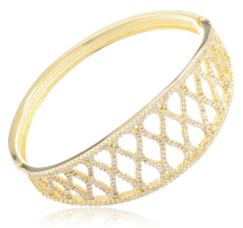 Real 925 Sterling Silver Fancy Bridal Bangle Bracelet With Cubic Zirconia Stones (Gold Plated)