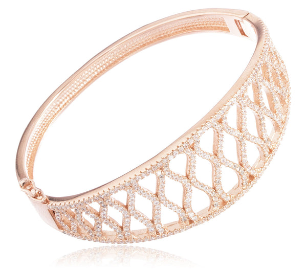 Real 925 Sterling Silver Fancy Bridal Bangle Bracelet With Cubic Zirconia Stones (Rosegold Plated)