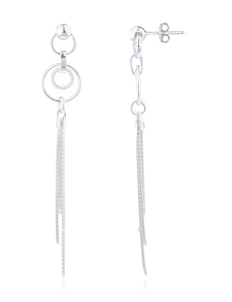Real 925 Sterling Silver Fancy Circle And Tassel Style Drop Earrings
