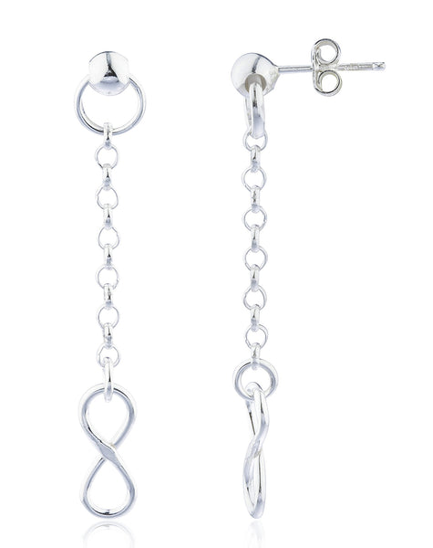 Real 925 Sterling Silver Fancy Infinite Links Drop Earrings
