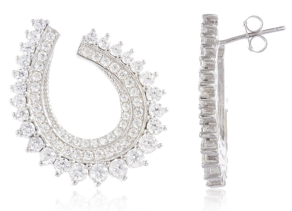 Real 925 Sterling Silver Fancy Loop Bridal Stud Earrings With Cubic Zirconia Stones
