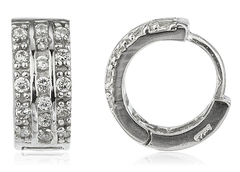 Real 925 Sterling Silver Fancy Mini 13.5mm Huggie Hoop Earrings With Three Rows Of Cz Stones