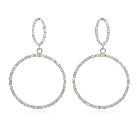 Real 925 Sterling Silver Fancy Mini Teardrop And Circle Cubic Zirconia Dangle Stud Earrings