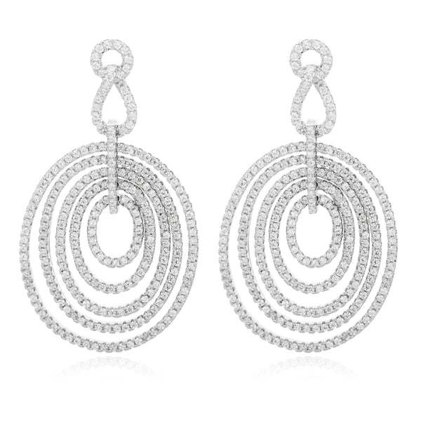 Real 925 Sterling Silver Fancy Multi Design Oval Earrings And Pendant With A 16 Inch Necklace