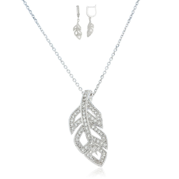 Real 925 Sterling Silver Feather Pendant And Matching Earrings With Cz Stones And A 1mm 18 Inch Link Necklace