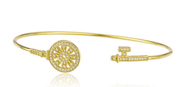 Real 925 Sterling Silver Floral Key Cuff Bangle Bracelet With Cz Stones (Goldtone)