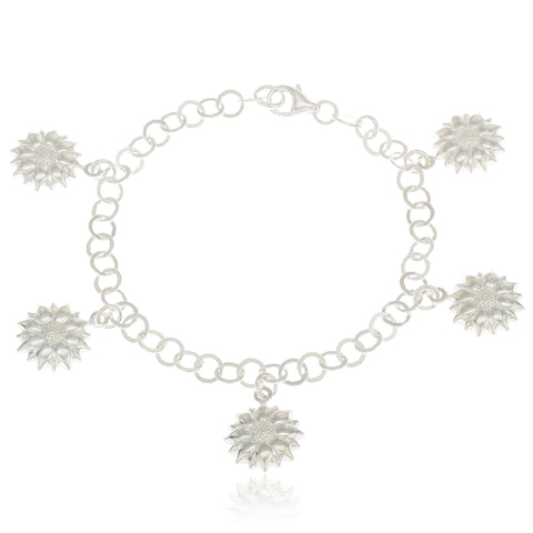 Real 925 Sterling Silver Flower Charmed 7 Inch Bracelet Chain
