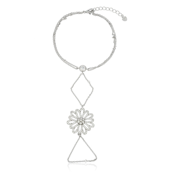 Real 925 Sterling Silver Flower Design Adjustable Hand Chain Bracelet With CZ Stones
