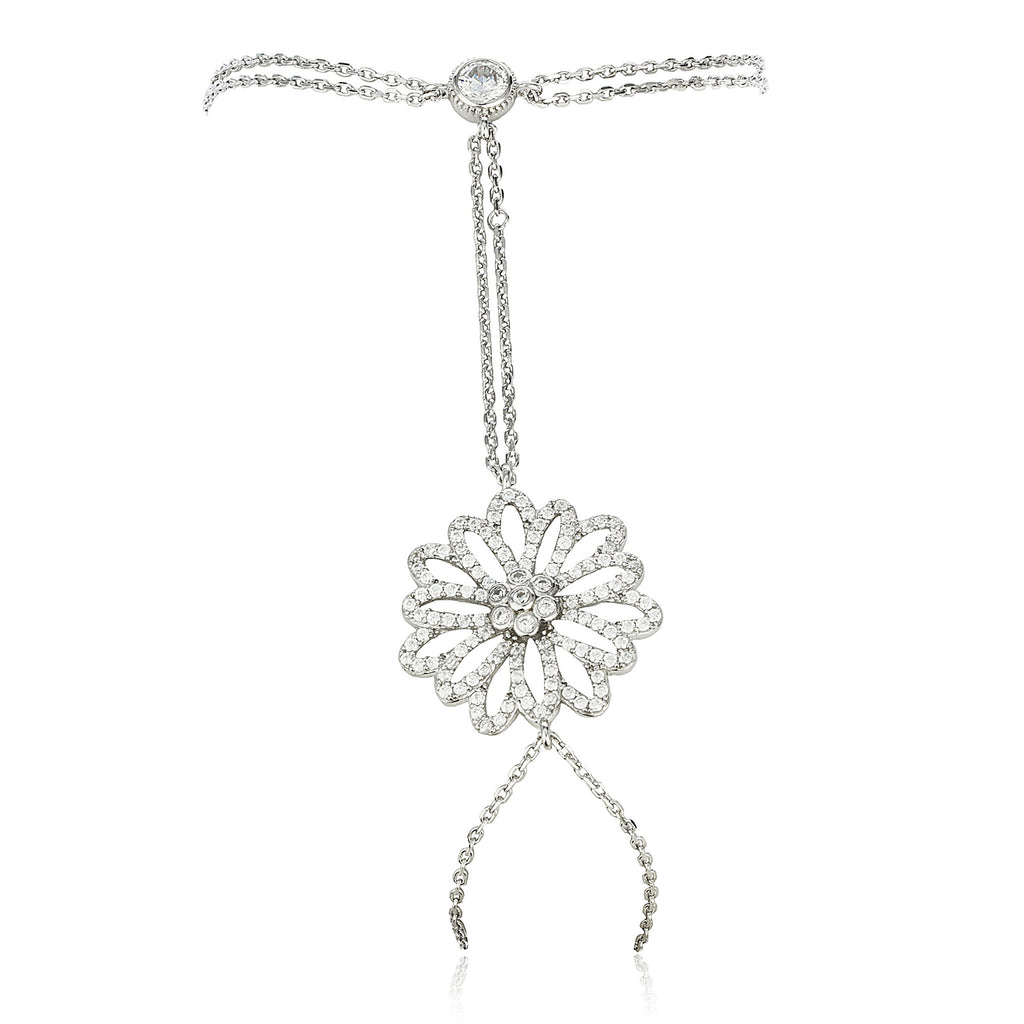 Real 925 Sterling Silver Flower Design...