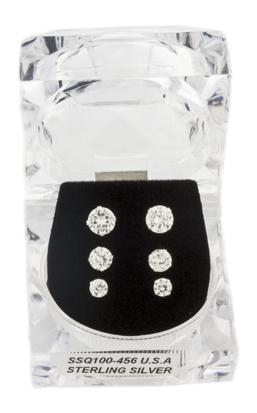 Real 925 Sterling Silver Four Prong 4, 5 And 6mm Cubic Zirconia Stud Earrings Set