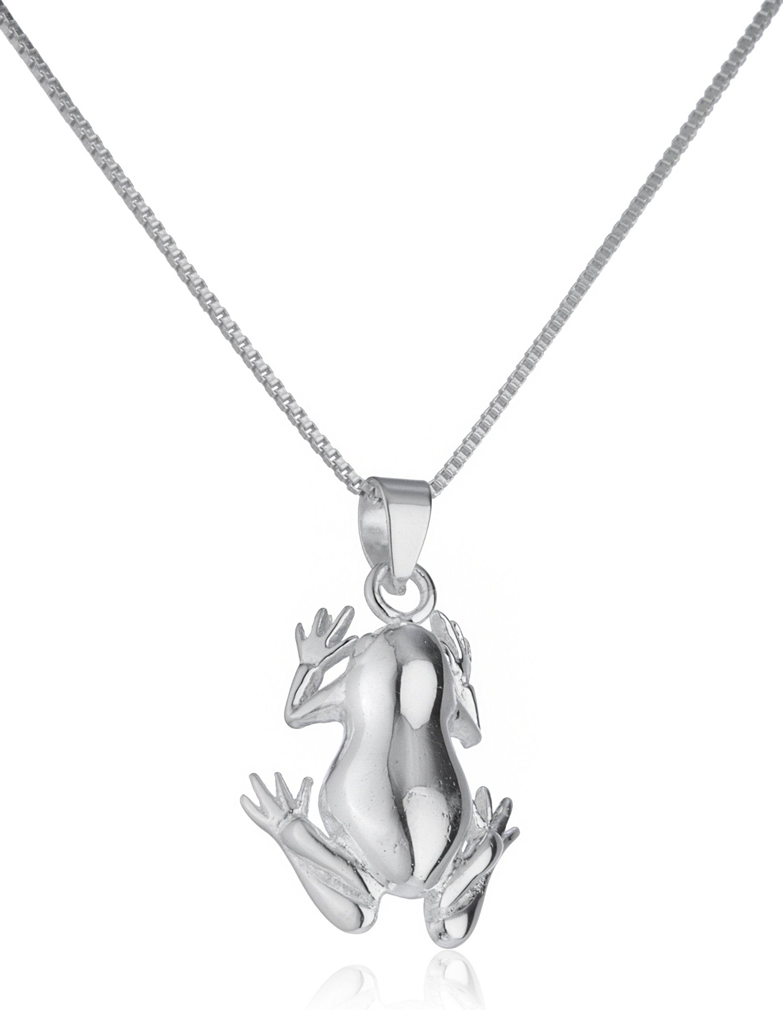 925 sterling silver frog pendant with an 18 inch box chain necklace real 925 sterling silver frog pendant mozeypictures Image collections