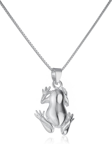 Real 925 Sterling Silver Frog Pendant With An 18 Inch Box Chain Necklace
