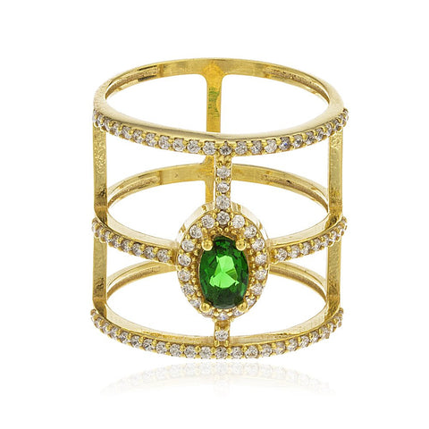 Real 925 Sterling Silver Gold Colored Emerald Green Cubic Zirconia Stone With Layered Cz Stones Ring Sizes 6-8