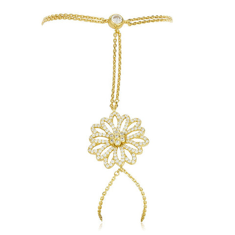 Real 925 Sterling Silver Gold Colored Flower Design Adjustable Hand Chain Bracelet With CZ Stones