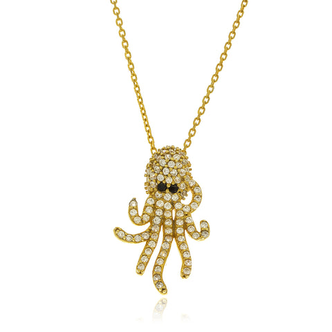 Real 925 Sterling Silver Gold Colored Iced Out Octopus Pendant With An 18 Inch Link Necklace