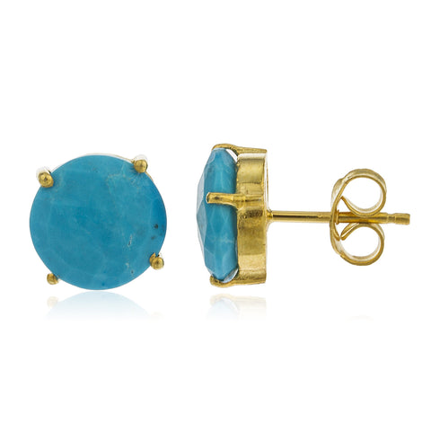 Real 925 Sterling Silver Gold Colored Semi-precious 10mm Turquoise Stone Stud Earrings