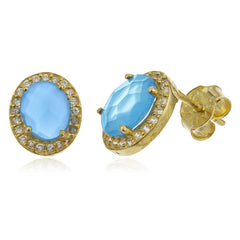 Real 925 Sterling Silver Gold Colored Simulated Topaz Oval Stone With Cz Stones Stud Earrings