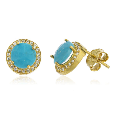 Real 925 Sterling Silver Gold Colored Simulated Turquoise Round Stone With Cz Stones Stud Earrings