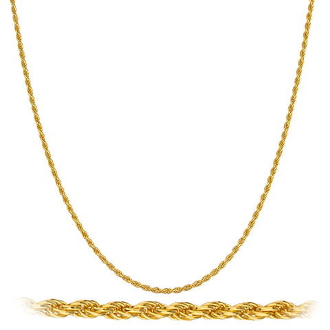 Real 925 Sterling Silver Goldtone 1.5mm 16 Inch Rope Chain Necklace