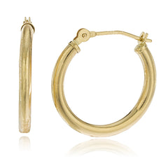 Real 925 Sterling Silver Goldtone 2mm Simple Pincatch Hoop Earrings (14 Millimeters)