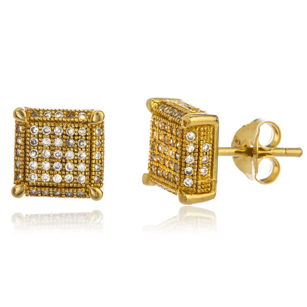 Real 925 Sterling Silver Goldtone 9mm Boxed Stud Earrings With Cz Stones