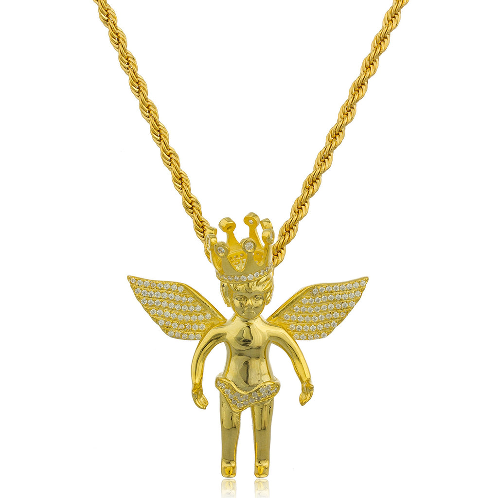 Real 925 Sterling Silver Goldtone Angel...