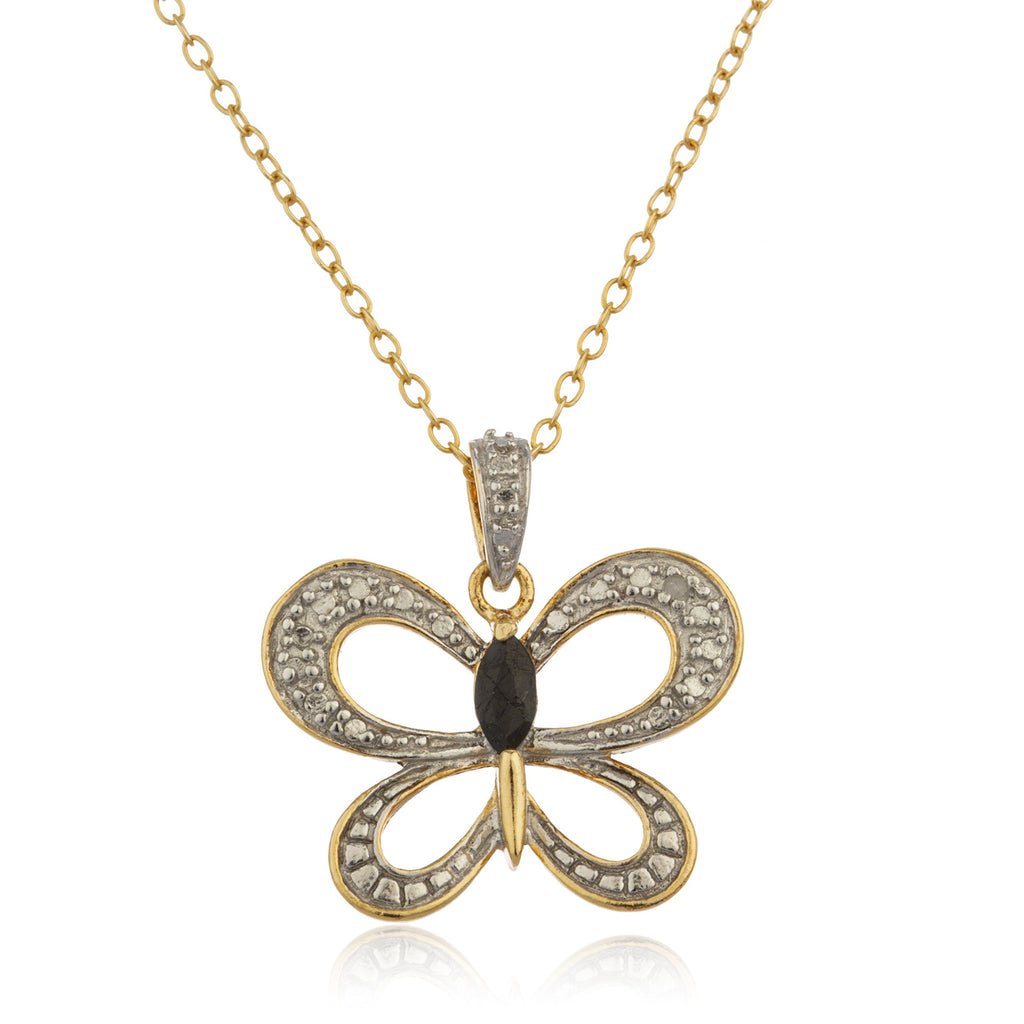 Real 925 Sterling Silver Goldtone Butterfly...