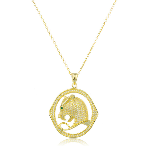 Real 925 Sterling Silver Goldtone Cheetah Pendant With Clear Cz Stones And An 18 Inch Anchor Necklace