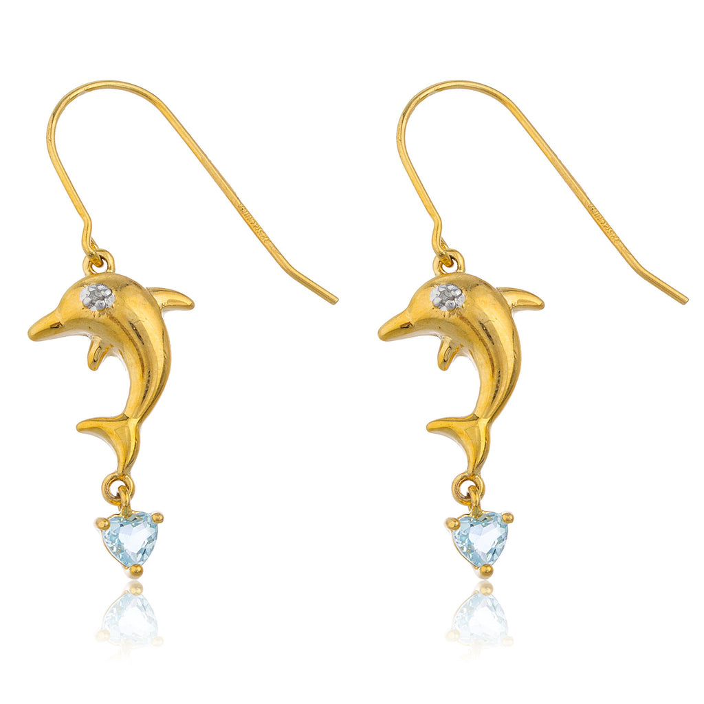 Real 925 Sterling Silver Goldtone Dolphin...