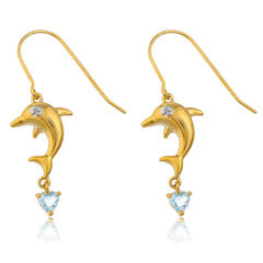 Real 925 Sterling Silver Goldtone Dolphin With Heart Cz Stone Earrings