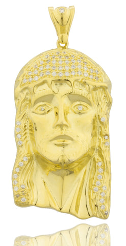 Real 925 Sterling Silver Goldtone Jesus Face Pendant With Cubic Zirconia Stones