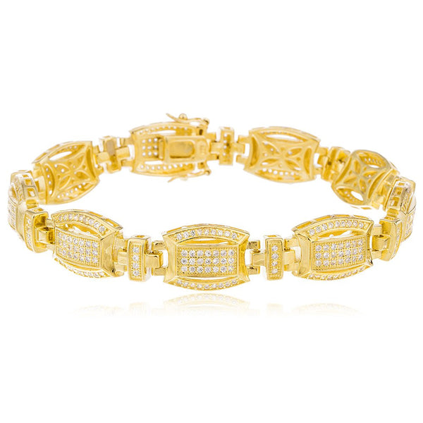 Real 925 Sterling Silver Goldtone Mens Large 8.5 Inch Link Bracelet With Cubic Zirconia