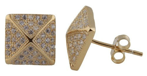 Real 925 Sterling Silver Goldtone Micro Pave Cubic Zirconia 9mm Pyramid Style Stud Earrings