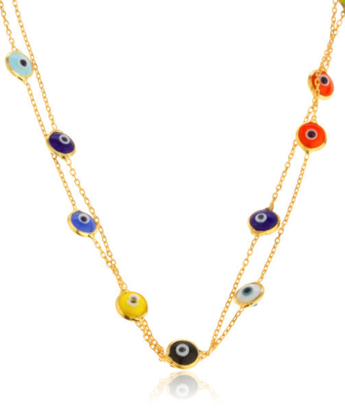 Real 925 Sterling Silver Goldtone Multicolor Mini Evil Eyes Pendants 40 Inch Wrap Around Necklace