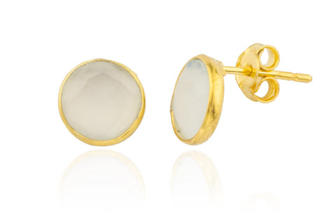 Real 925 Sterling Silver Goldtone Simulated Crystal Clear Round Stone Earrings