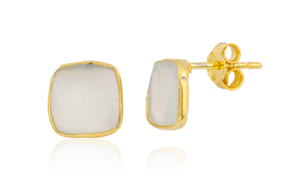 Real 925 Sterling Silver Goldtone Simulated Crystal Clear Square Stone Earrings