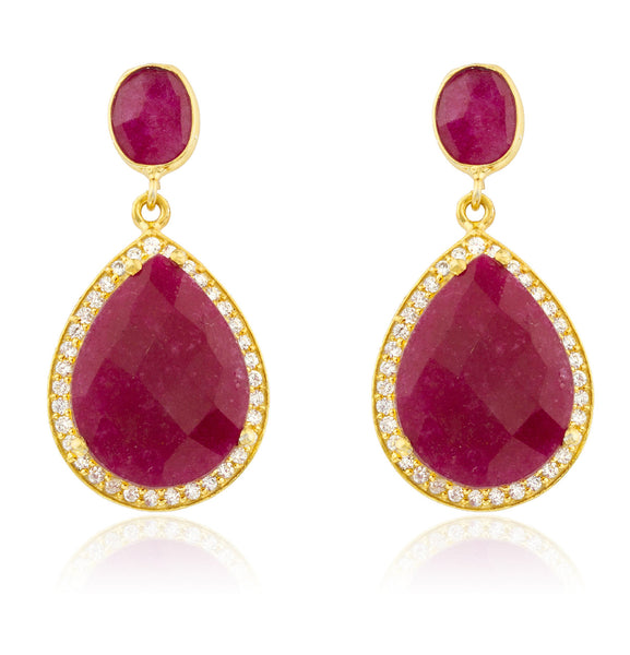 Real 925 Sterling Silver Goldtone Simulated Ruby Stone With Surrounding Cubic Zirconia Stones Earrings