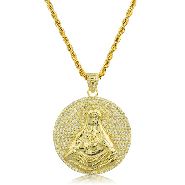 Real 925 Sterling Silver Goldtone Small Round Mother Mary Pendant With Clear Cz Stones And A 3mm Brass Rope Necklace (24 Inches)