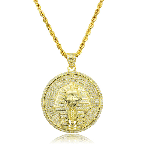 Real 925 Sterling Silver Goldtone Small Round Pharaoh Pendant With Clear Cz Stones And A 3mm Brass Rope Necklace (24 Inches)
