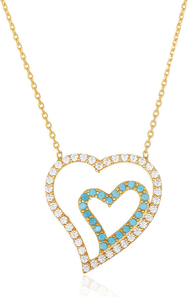 Real 925 Sterling Silver Goldtone With Clear Blue Stones Double Heart Pendant And 18 Inch Necklace