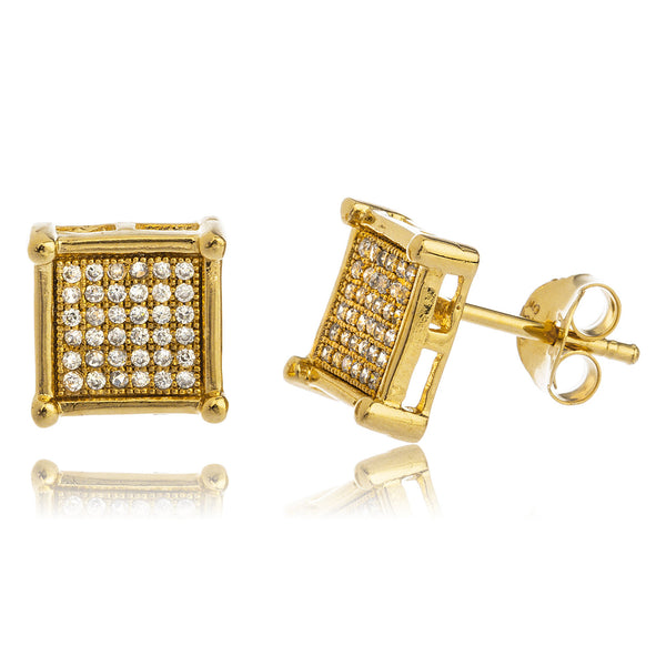 Real 925 Sterling Silver Goldtone With Clear Cz Stones 10mm Hollow Style Boxed Stud Earrings