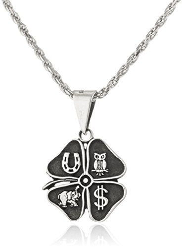 "Real 925 Sterling Silver 'Good Luck"" Four Leaf Clover Pendant With An 18 Inch Rope Necklace"