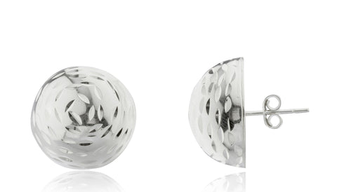 Real 925 Sterling Silver Half Ball D-Cut Stud Earrings- Available In Vermeil And Silver (18 Millimeters, Sterling-silver)
