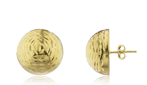 Real 925 Sterling Silver Half Ball D-Cut Stud Earrings- Available In Vermeil And Silver (18 Millimeters, Vermeil)
