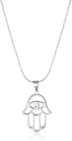 Sterling Silver Hamsa Evil Eye with Ball Necklace