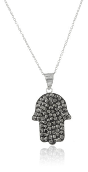 Real 925 Sterling Silver Hamsa Hand Pendant With Black Stones And An 18 Inch Link Necklace