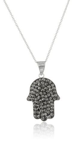 Hamsa Hand Pendant with Black Stones Link Necklace
